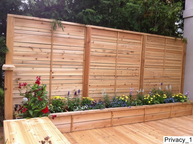 Stained Deck Privacy Screens